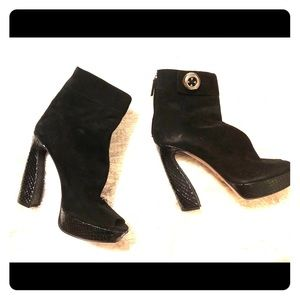 Suede and snakeskin Prada booties!